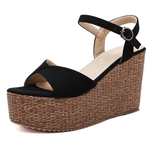à épais Femmes Black Poisson Bouche Fond Daim Sandales Chaussures Pente Bohemia Boucle Bn7q0xXqw