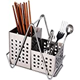 Stainless Steel Hanging 2 Compartments Mesh Utensil Drying Rack/Chopsticks/Spoon/Fork/Knife Drainer Basket Flatware Storage Drainer (Square)