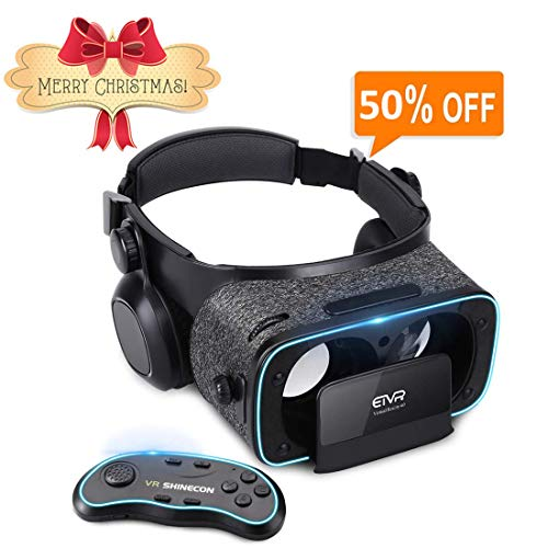 3D VR Headset With Remote Controller for 3D Movies & VR Games, Skin-Friendly Lightweight Comfortable Virtual Reality Headset with Stereo Headphone, Fit for 4.7-6.2 iPhone and Android Smartphones