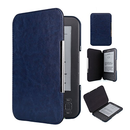 Kindle Keyboard 3rd Generation Case Book Style PU Leather Cover with 2 Pack Screen Protectors (Dark Blue) (Kindle Keyboard Case)