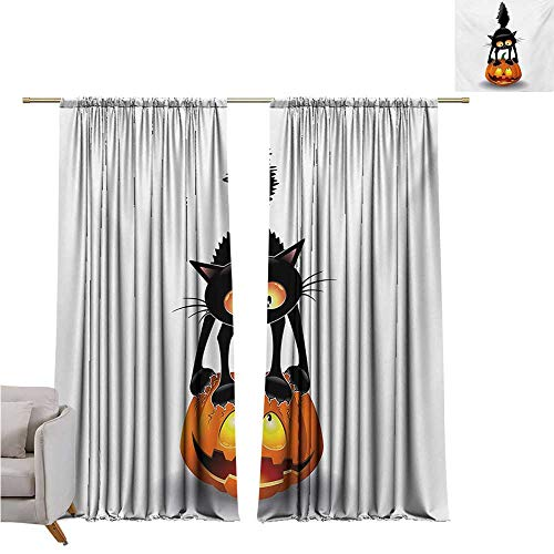 RenteriaDecor Halloween,Black Out Window Curtain Black Cat on Pumpkin Drawing Spooky Cartoon Characters Halloween Humor Art W96 x L84 Art Print Customized Curtains ()