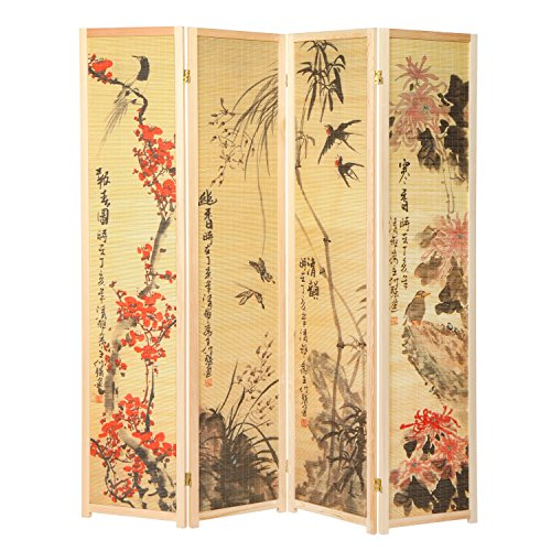 MyGift Decorative Chinese Calligraphy Design Wood & Bamboo Hinged 4 Panel Screen/Freestanding Room Divide, Beige Frame (Oriental Living Room Furniture)