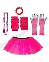 Childrens 4-7 Years - Neon Tutu Skirt, Fishnet Gloves, Legwarmers, Beads Necklace & Chunky Bracelet 1980s Fancy Dress (Neon Pink)