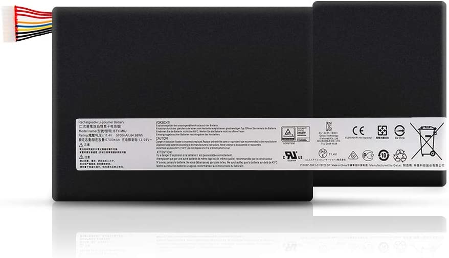 Amanda BTY-M6J Battery 11.4V 64.98Wh Replacement for MSI GS63 GS63VR GS73 GS73VR 6RF Stealth Pro 6RF-001US BP-16K1-31 BTY-U6J Series