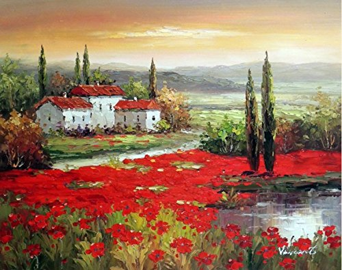 100% Hand Painted Tuscany Italian Farm Home Red Poppy Field Pond Canvas Oil Painting for Home Wall Art by Well Known Artist, Framed, Ready to Hang