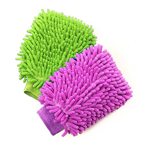 House Cleaning and Car Wash Mitts, BesMelody Home Dusting Microfiber Gloves, Washing Clean Polish Faster (2-Pack, Green/Blue)