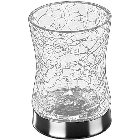 W-Luxury Addition Crackled Glass Round Table Toothbrush Toothpaste Holder Bath Tumbler (Polished Chrome)