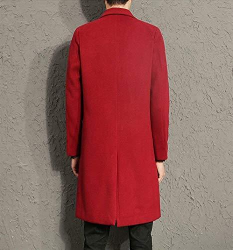 Los Hombres De Los Hombres Cierre Fit Cremallera De Único Regular Front Stand Collar Los Hombres De Largo Ntel Moda Leisure Coat De Los Hombres (Color : Winered, Size : 5XL)