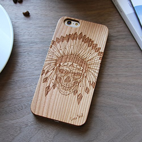(Custom Engraved Skull Indian Chief Feather Wood Case For iPhone 5/5s, iPhone 6/6s and iPhone 6 Plus / 6s Plus (iPhone 6 Plus / 6s Plus))