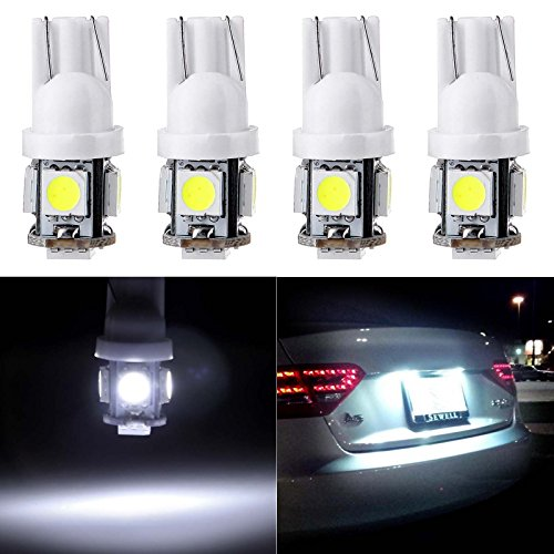 Legend Acura Interior - cciyu 194 Extremely Bright LED Bulbs T10-5-5050-SMD Light Lamp License Plate Light Lamp Wedge T10 168 2825 W5W White Pack of 4