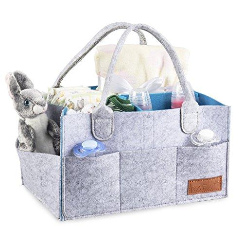 Baby Diaper Caddy Organizer Changing Table Bag Nursery Storage Basket for Newborn, Baby Shower Gift,Blue