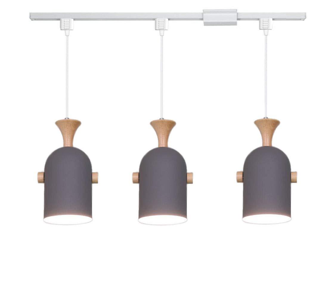Kiven h type track pendant lignting aluminum and wood pendant light for kitchen islands lighting 1pack amazon com