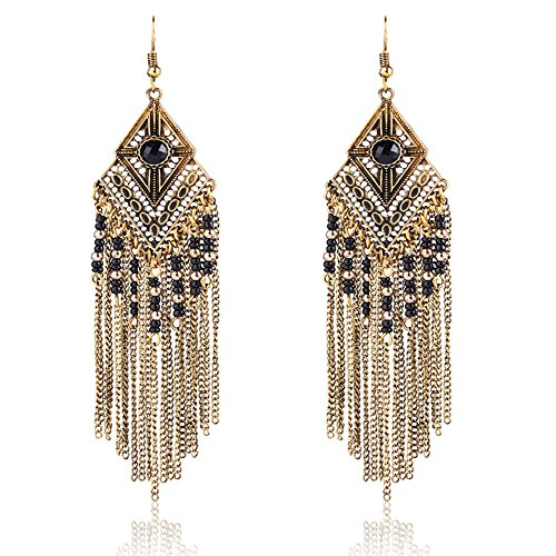 Tassel Dangle Drop Bohemian Earrings - YIFEI 2018 New Design Vintage Dangling Beaded Chandelier Long Fashion Unique Ethnic Earrings For Womens/Girls