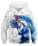 NAYINLAN Boys Girls 3D Digital Unicorn Galaxy Printed Pullovers Hoodies Sweatshirts for Teen,9-11 Years