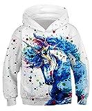 GLUDEAR Kids 3D Unicorn Galaxy Pattern Hooded Pullover Sweatshirt for Boys or Girls,Unicorn Painting,8-11 Years