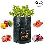 ANPHSIN 4 Pack 10 Gallon Garden Potato Grow Bags Flap Handles Aeration Fabric Pots Heavy Duty