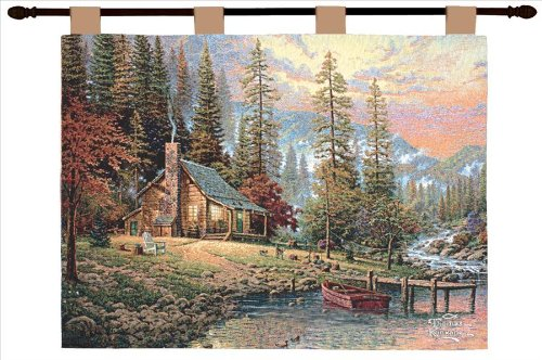 Manual Thomas Kinkade 26 X 36-Inch Wall Hanging, A Peaceful Retreat]()