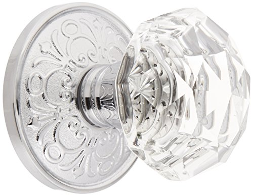 Lancaster Rosette with Diamond Knobs Double Dummy in Polished Chrome. Old Door Knobs. ()