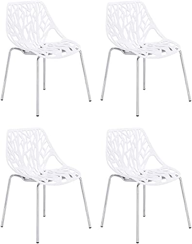 CangLong Set of 4 Modern Mid Century Plastic Shell Hollow Out Chair