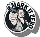 "[Single Count] Custom and Unique (3'' x 2.5'') Round ""Funny Comedy"" ''Mark It Zero'' Big Lebowski Embroidered Applique Patch {Navy, Brown, White, & Grey Colors} [Licensed]"
