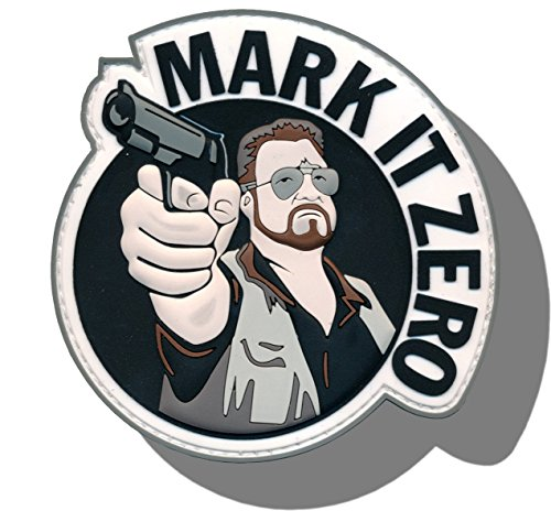 "[Single Count] Custom and Unique (3'' x 2.5'') Round ""Funny Comedy"" ''Mark It Zero'' Big Lebowski Embroidered Applique Patch {Navy, Brown, White, & Grey Colors} [Licensed] by Patch Squad USA"