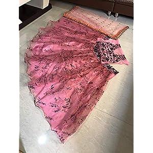 Yazu Lifestyle Women's Satin & Net Lehenga Choli (Digital Print Lhenga_Pink_Free Size)