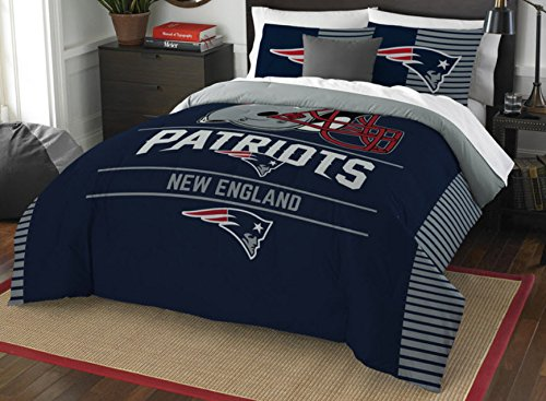 New England Patriots Comforter Set Bedding Shams NFL 3 Piece Full-Queen Size 1 Comforter 2 Shams Football Linen Applique Bedroom Decor Imported