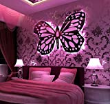 Led Button Butterfly Wall Lamp Couple Room Stainless Steel Pink Butterfly Wall Lamp (80 90Cm)