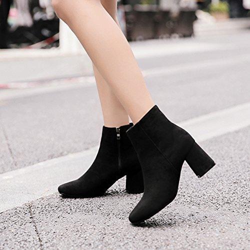 Aisun Damen Elegant Quadratische Zehe Mittelhoher Blockabsatz Kurzschaft Stiefel Mit Reißverschluss Schwarz