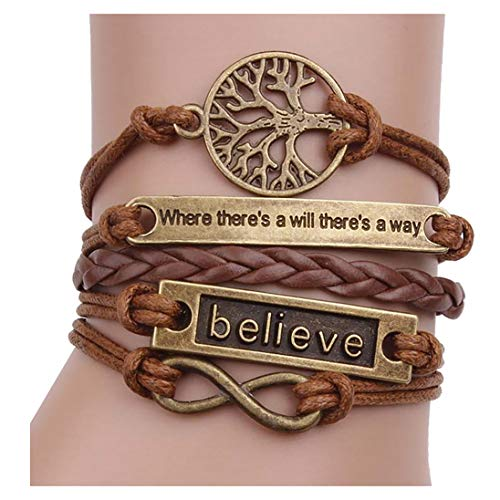 Nurbo Handmade Adjustable Tree For Life Believe Multilayer Bracelet Wristband