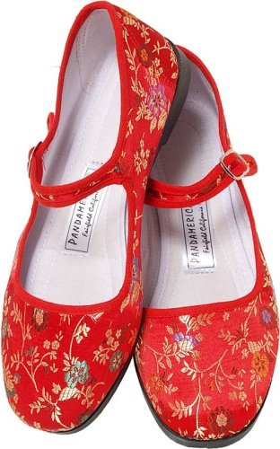 ea3243d3e5dd Red Brocade Silk Mary Jane Chinese Shoes Size 37