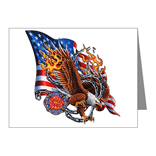 (Greeting Card Firefighter Eagle Flames and Chains)