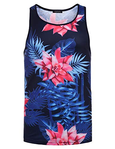 Hawaiian Shirt Street (COOFANDY Mens Floral Sleeveless Tees All Over Print Casual Tank Top T-Shirts,Navy Blue,XX-Large)