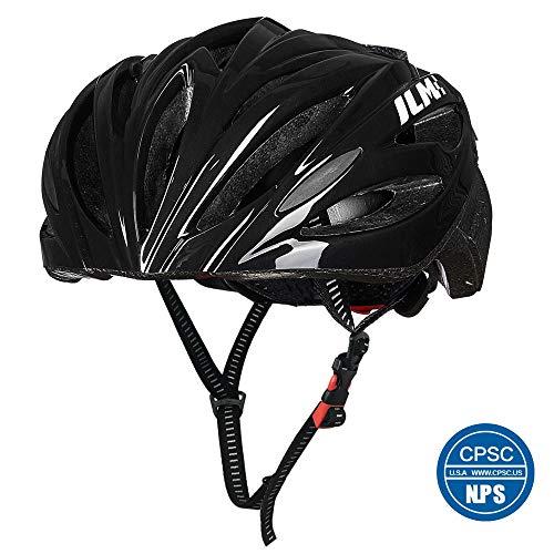 ILM Cycling Bike CPSC Certified Helmet Suits Men Women Quick Release Strap Lightweight Microshell (Black, L/XL)