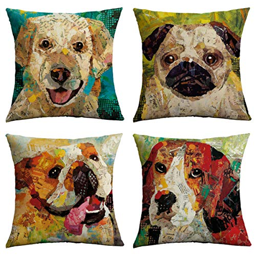 ChooTeeYeen Decorative Pillow Covers 18x18 in Set of 4 Cotton Linen Farmhouse Throw Pillow Covers for Sofa Couch Home Outdoor Decor (Pillows Decorative Dogs)