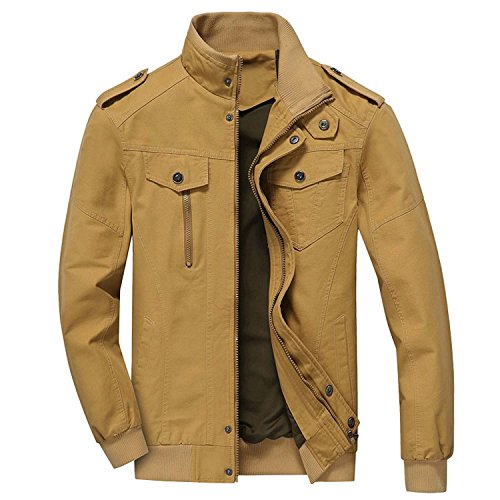 CRYSULLY Men's Fall Cotton Windbreaker Military Zipper Bomber Cargo Jacket Air Force Coat Outwear (Air Force Cargo)