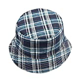 Junjie Toddler Kids Baby Boys Girls Plaid Pattern Sun Basin Cap Fisherman Hat (F)