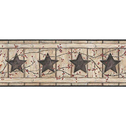 York Wallcoverings Keepsakes Country Cutout Star Removable Wallpaper, Beige, Tan, Black, Red, Brown ()