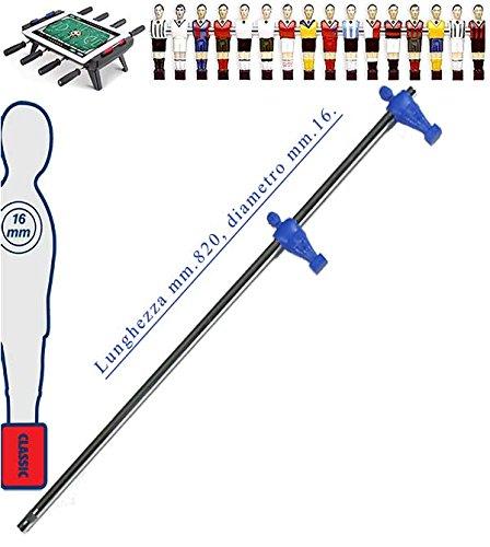 grandeemporio Calcio Balilla Asta telescopica (rientrante) Universale, Diametro mm.16. Asta terzini con 2 ometti pressofusi in Polipropilene, Blu. Senza astina Interna.