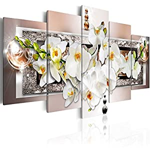 Orchid Flowers Canvas Print Abstract Wall Art Painting Decor for Home Decoration Artwork Picture Bedroom White Floral (D, Over Size 60''x30'') 2
