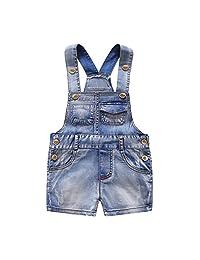 Kidscool Baby Boys/Girls Adjustable Bib Rough Selvage Denim Short Overalls