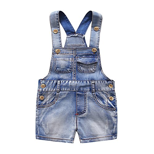 Kidscool Baby & Little Boys/Girls Cute Six Pockets Bib Denim Short Overalls, 18-24 Months Denim Toddler Bib