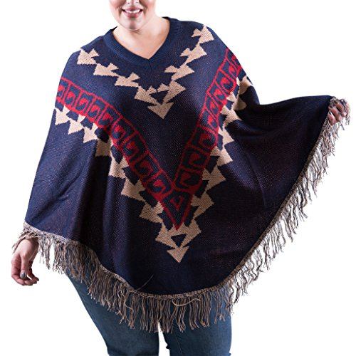 [16264XR-NVY-3X] Womens Plus Size Round Poncho Wrap: Fringe Edges Pullover Shawl