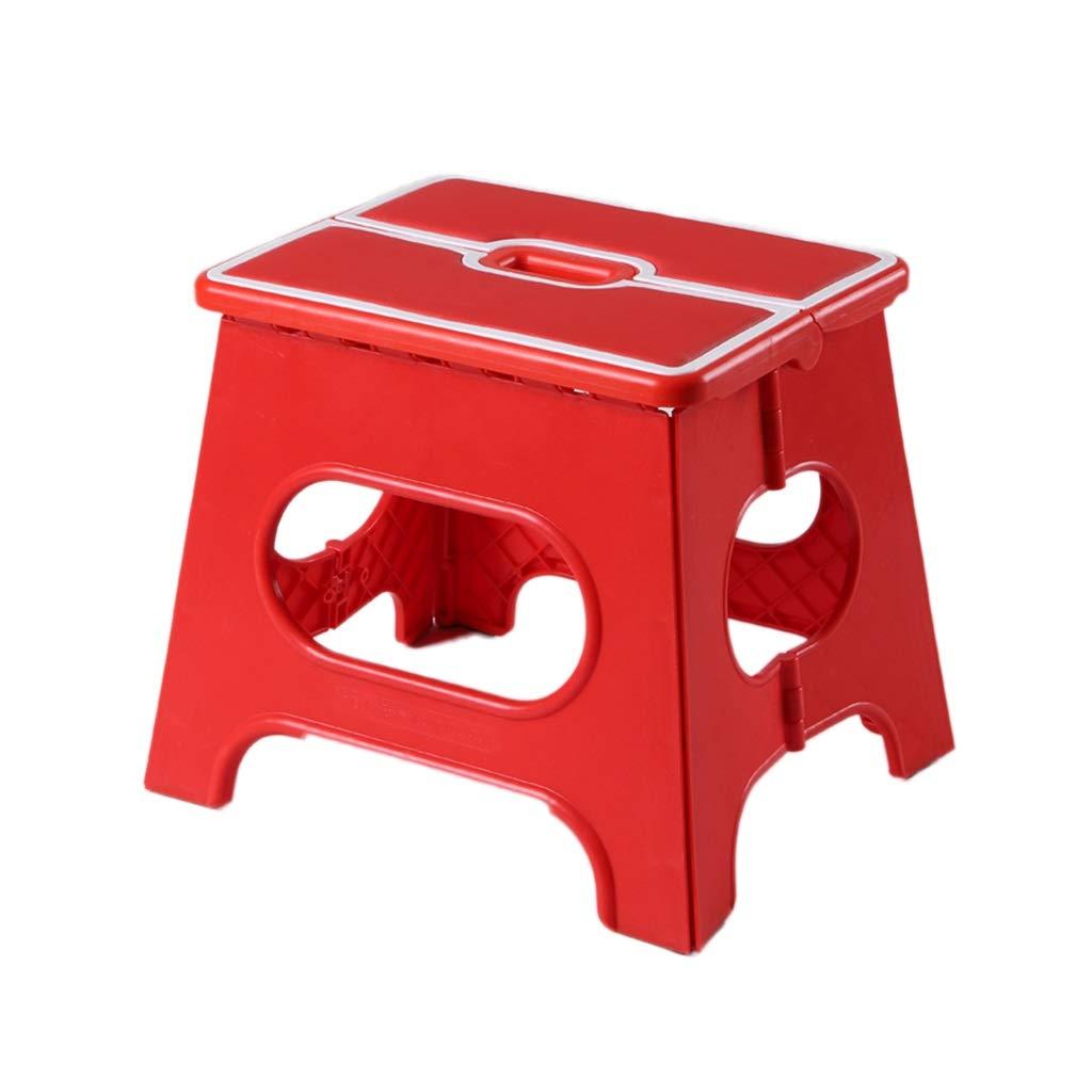 Rot CJX-Step Stools Anti Slip Tritthocker, Kunststoff Durable Rutschfeste Klappschritt Hocker Küchengarten Bad Faltbare Tritthocker (Farbe   Rot)