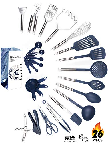 Kitchen Utensil Set – 26 Nonstick Stainless Steel Kitchen Gadgets & Tool Set. BPA Free Cooking Utensils Cookware Set. Spatula, Potato Masher, Tongs. Best Kitchen Utensils Gifts for him her – ÉLEVER