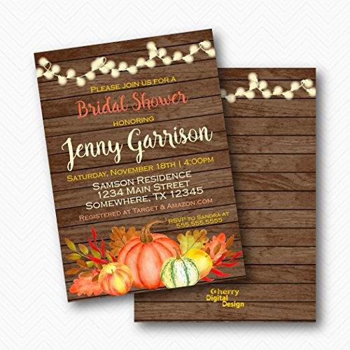 Fall Leaves Invitation Wedding (Rustic Wood Pumpkin Fall Bridal Shower Invitations | Envelopes Included)