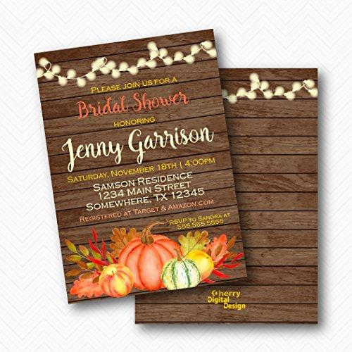 Rustic Wood Pumpkin Fall Bridal Shower Invitations | Envelopes Included