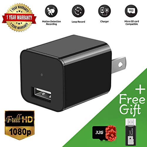 Home Surveillance Mini Camera Charger 1080p - USB Wall Charger Camera Recorder 32GB Included