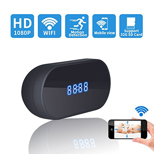Ruidla Hidden Spy Camera Clock, Wireless Mini Hidden Camera Wifi with Motion Detection HD 1080P Nanny Cam Surveillance for Home Office