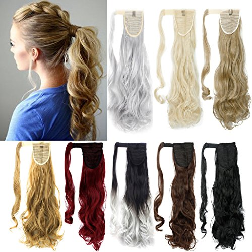 FUT Wrap Around Ponytail One Piece Clip in Curly Pony Tial Hair Extensions 18inch 90g for Girl Lady Women